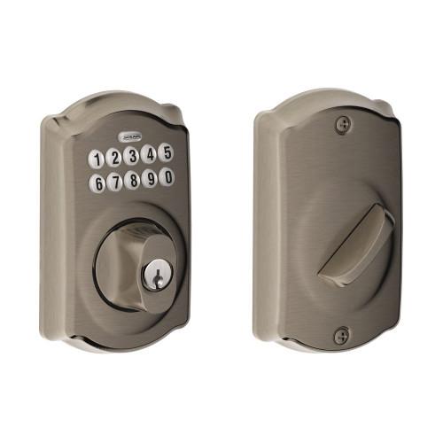 Schlage / Camelot Keypad Deadbolt / Single Cylinder / Antique Pewter / BE365CAM 620