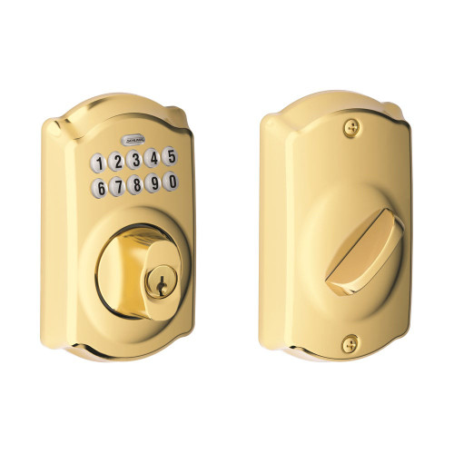 Schlage / Camelot Keypad Deadbolt / Single Cylinder / Lifetime Bright Brass / BE365CAM 505