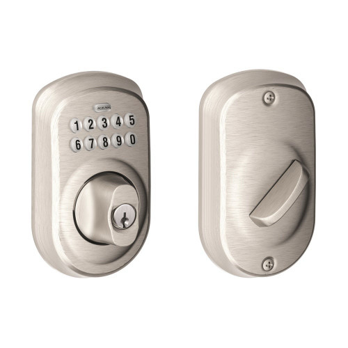 Schlage / Plymouth Keypad Deadbolt / Single Cylinder / Satin Nickel / BE365PLY 619
