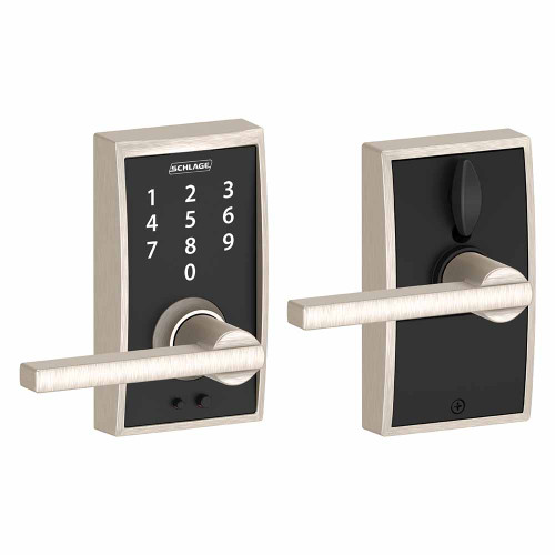 Schlage / Century Touch Keyless Entry with Accent Lever / Touchscreen / Satin Nickel / FE695CEN 619 LAT