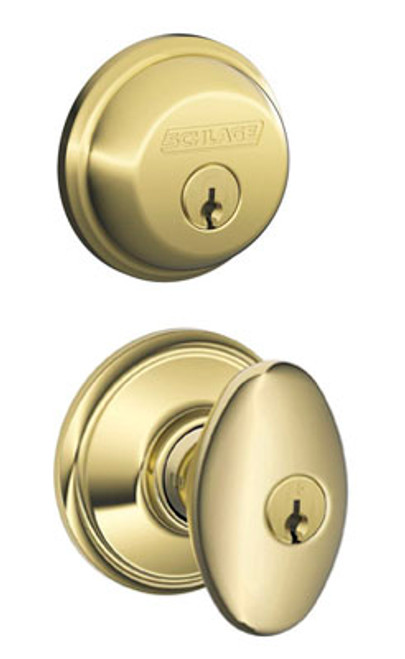 Schlage / Siena Knob / F51A Keyed Entry with B60 Single Cylinder Deadbolt Combo Pack / Lifetime Bright Brass / FB50NVSIE505