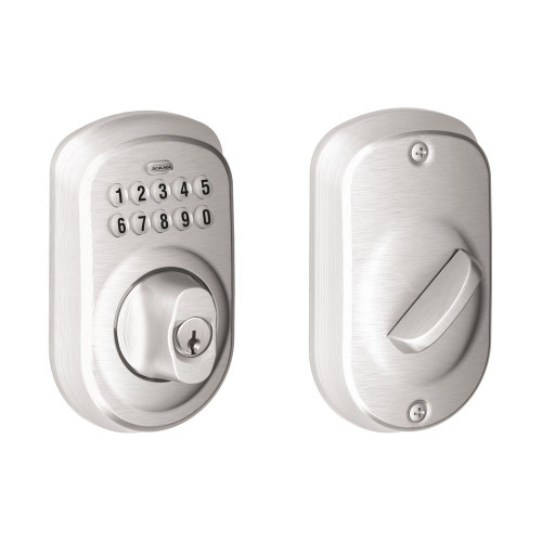 Schlage / Plymouth Keypad Deadbolt / Single Cylinder / Satin Chrome / BE365PLY 626