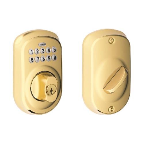 Schlage / Plymouth Keypad Deadbolt / Single Cylinder / Lifetime Bright Brass / BE365PLY 505