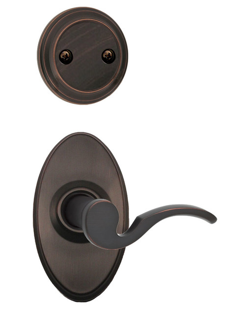 Kwikset / 968 Dummy Cylinder Interior Trim Pack / Brooklane Lever with Oval Rose / Left Hand / Venetian Bronze / 968BRLXOVAL11PLH