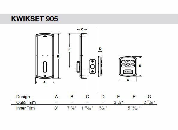 905 Touchpad Deadbolt Keyless Entry Dimensions