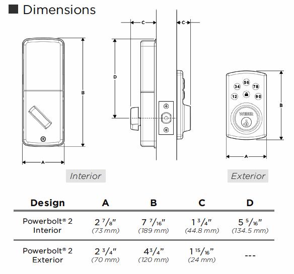 907-2 Powerbolt Keyless Deadbolt Dimensions