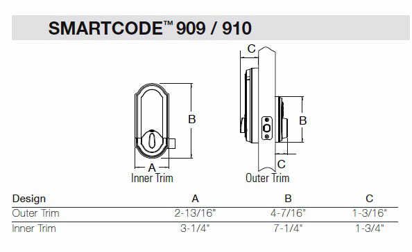 909 SmartCode Deadbolt Dimensions