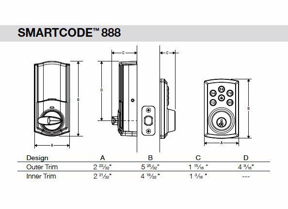 888 SmartCode Deadbolt Dimensions