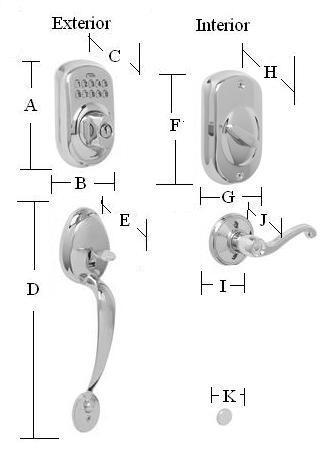 Plymouth Keypad Handleset Dimensions