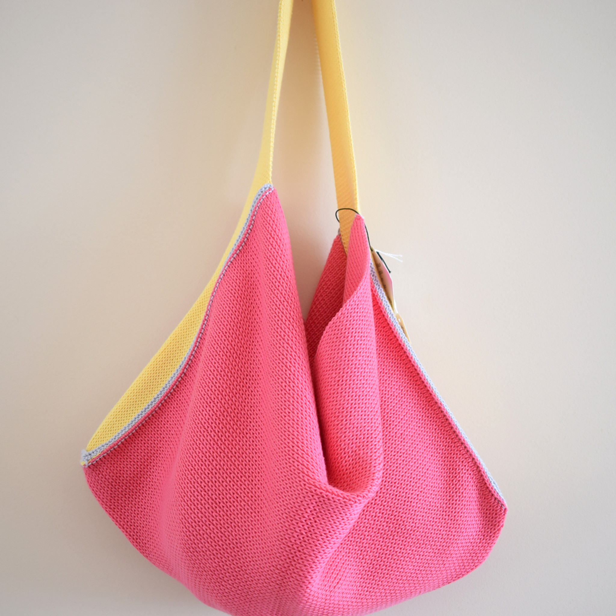 d0ca4beb40 Knitted Cotton Tote Bag - Pink with Yellow Strap