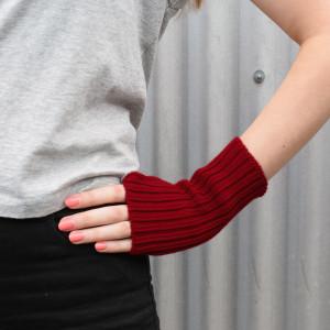 Red Wool Wrist Warmers