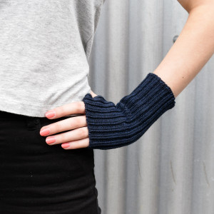 Navy Knitted Wool Wrist Warmers