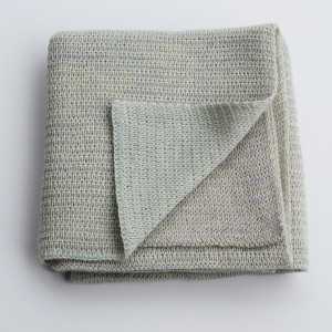 Merino knitted baby blanket - mint and lemon