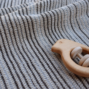 Merino and Lurex baby blanket - stone