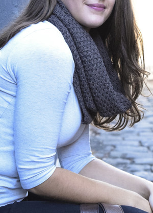 Textured Loop Scarf - Dark Grey