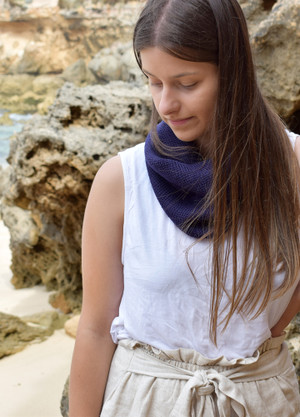 Single Loop Merino Wool Scarf or Cowl, Deep Purple