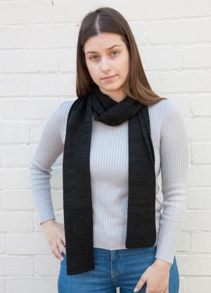 black basic merino wool scarf