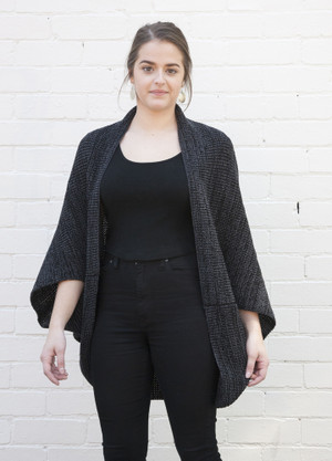 Charcoal merino wool over-sized shrug