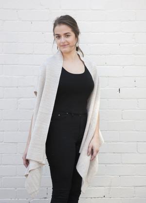 knitted open merino wool vest