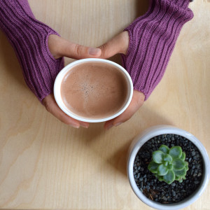 Wool Wrist Warmers - Grape