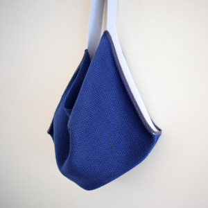 Knitted Cotton Tote Bag - Navy with silver grey strap
