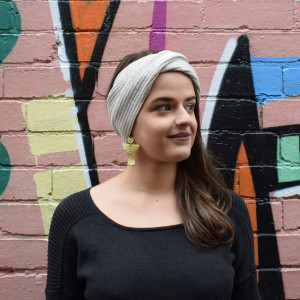 Wool headband in linen colour
