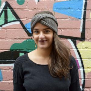 Wool headband in mocha colour