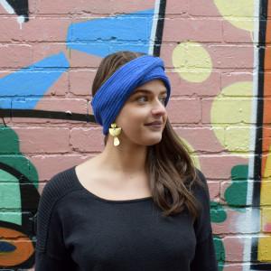 Wool headband in blue