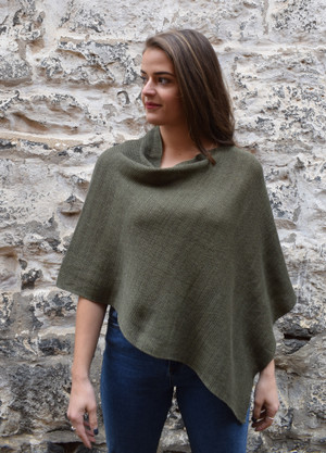 Cotton poncho khaki asymmetrical