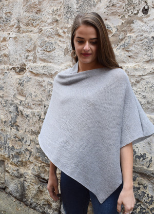 cotton poncho light grey asymmetrical