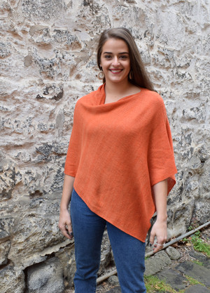 cotton poncho orange asymmetrical