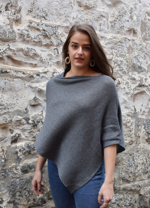 cotton poncho dark grey asymmetrical