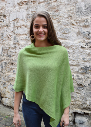 Cotton poncho green asymmetrical