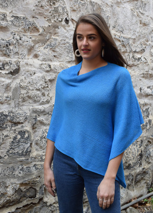 Cotton poncho sky blue asymmetrical