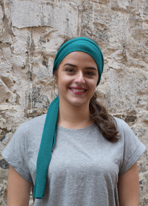 teal, worn as head scarf