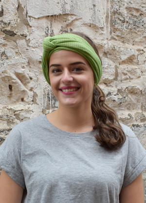 green, worn as headscarf