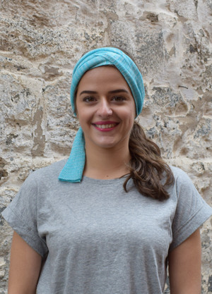 aquamarine, worn as headscarf