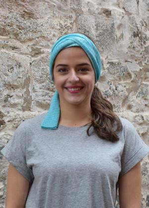 aquamarine, worn as headscarf