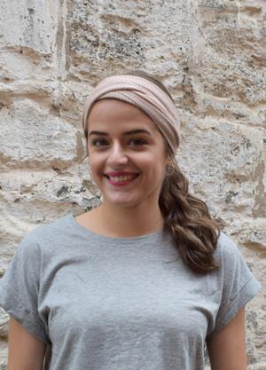 blush, worn as headscarf