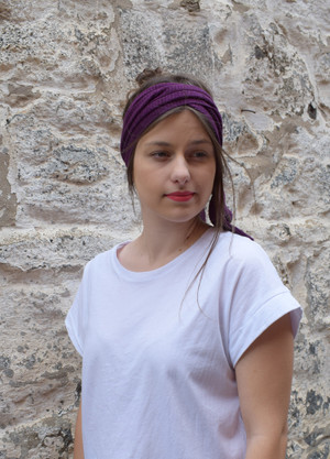 purple, worn as headscarf