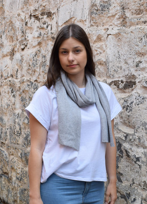 Light grey cotton scarf