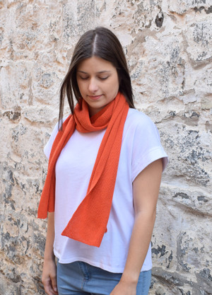 burnt orange cotton scarf