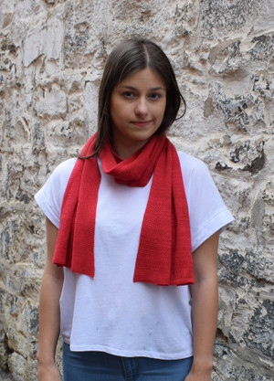Lipstick Red Cotton Scarf