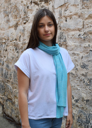 Topaz stripe cotton scarf