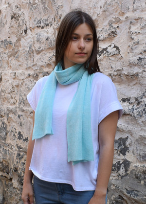 Aquamarine cotton scarf