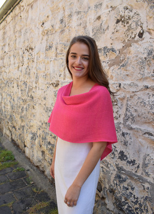 Petite poncho, pink - worn with seam at back