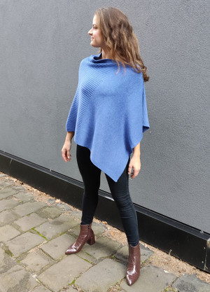 Poncho - Merino Wool - Ribbed Detail
