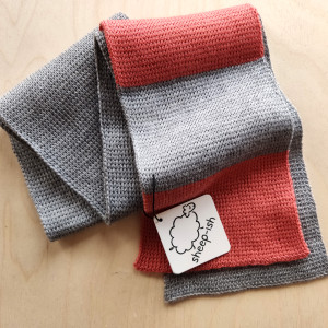 Children's Scarf - Grey/Coral