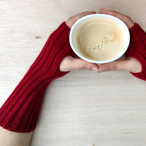 Extra Long Knitted Wool Wrist Warmers - Red