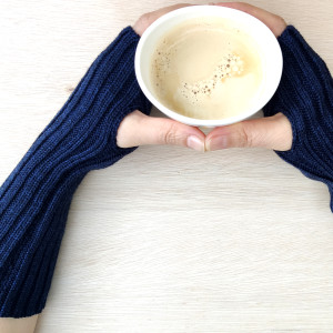 Extra Long Knitted Wool Wrist Warmers - Navy